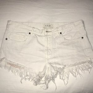 Free people white jean shorts